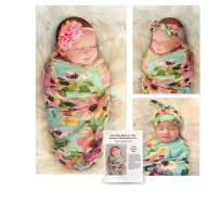 """Organic Cotton 4 Piece Set, 1 Large 40""""x40"""" Swaddle Blanket, 2 Headbands and Matching Hat for Photos and Everyday Use. Bonus How to Take Baby Photos Like a Pro Guide. Aqua Floral."""