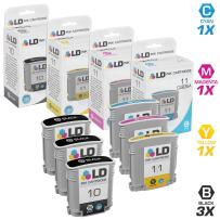 LD Remanufactured Ink Cartridge Replacement for HP 10 & HP 11 High Yield (3 Black, 1 Cyan, 1 Magenta, 1 Yellow, 6-Pack)