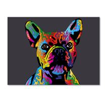 French Bulldog Grey by Michael Tompsett, 24x32-Inch Canvas Wall Art