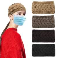 Casoty 4 Pieces Warm Knitted Headbands Winter Button Headband Braided Headbands Crochet Turban Headbands Ear Warmer Headband for Women
