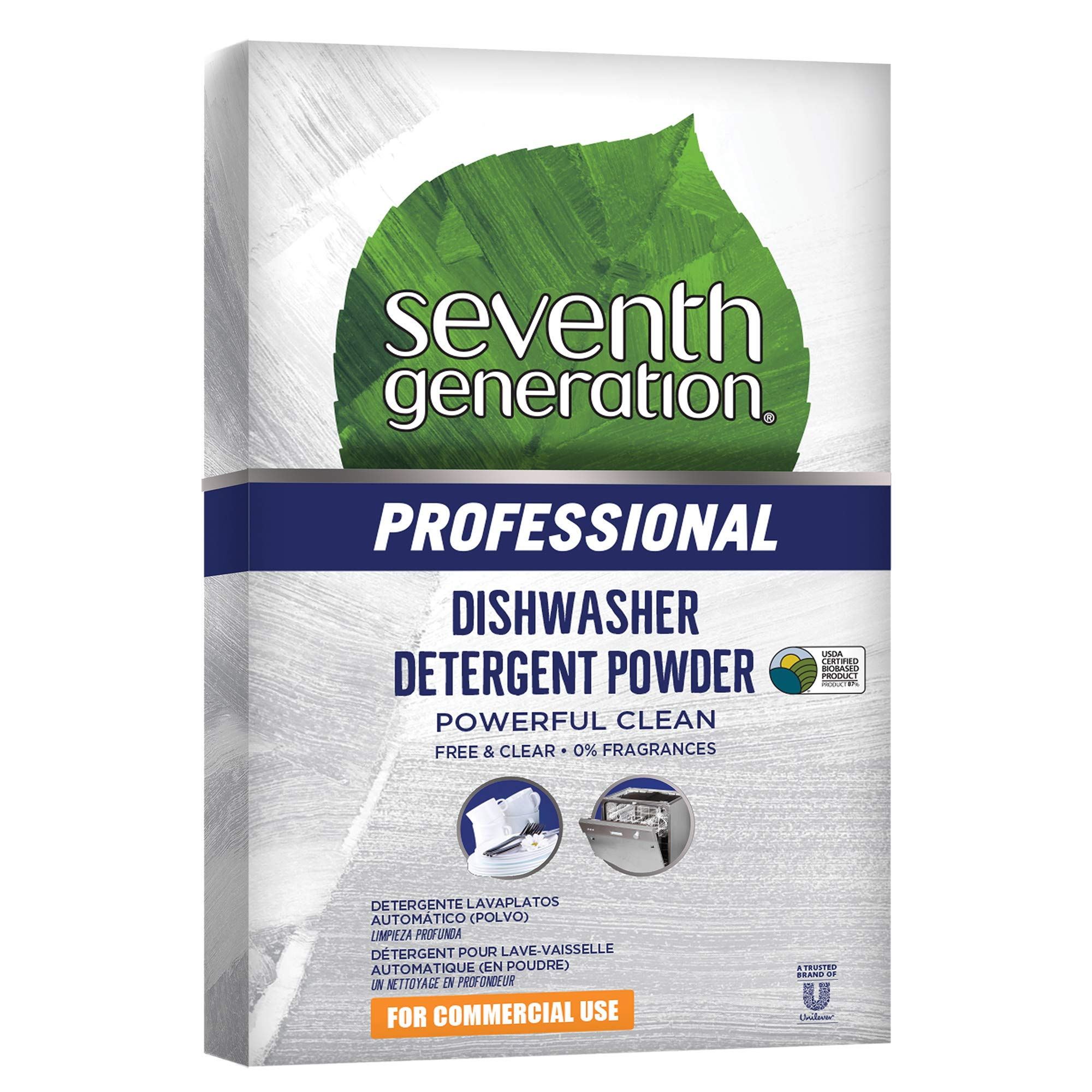 Seventh Generation Professional Dishwasher Detergent Powder, Free & Clear, Unscented, 75 oz (Pack of 8)