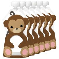 Squooshi Reusable Food Pouch | Monkey 6 Pack | Refillable Squeeze Pouches for Kids of All Ages …