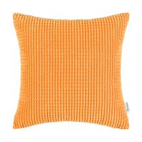CaliTime Cozy Throw Pillow Cover Case for Couch Sofa Bed Comfortable Supersoft Corduroy Corn Striped Both Sides 20 X 20 Inches Bright Orange
