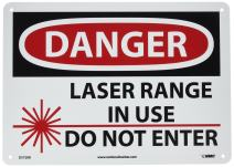 "NMC D572RB OSHA Sign, Legend ""DANGER - LASER RANGE IN USE DO NOT ENTER"" with Graphic, 14"" Length x 10"" Height, Rigid Plastic, Black/Red on White"