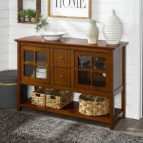 Walker Edison Furniture Company Farmhouse Wood Buffet Storage Cabinet Living Room, 52 Inch, Rustic Brown