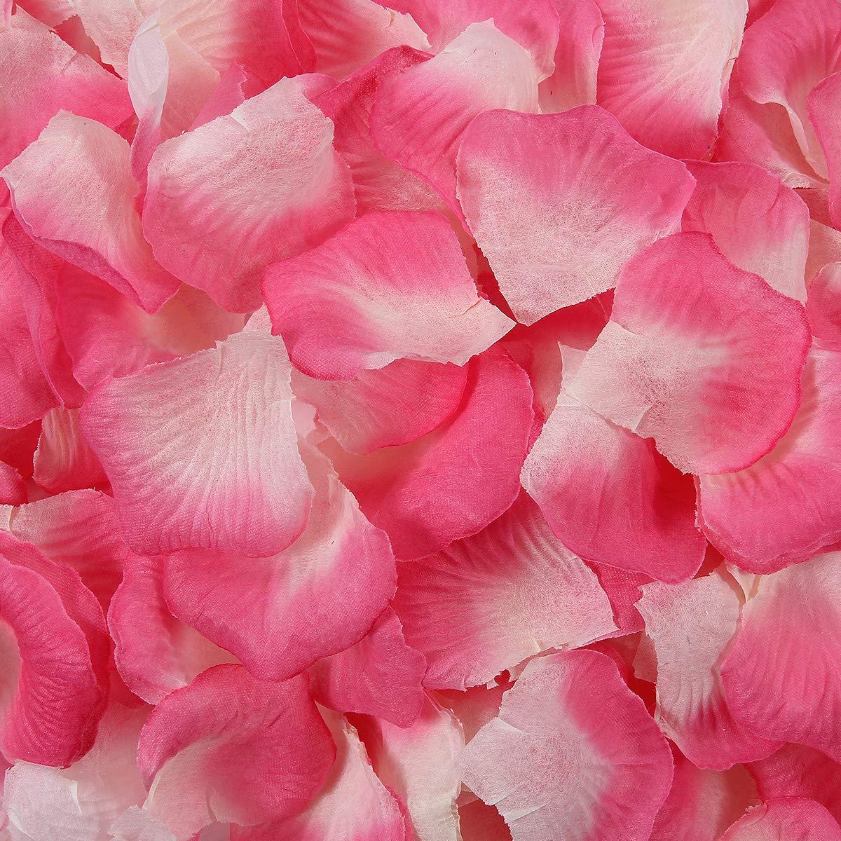 BESKIT 3000 Pcs Artificial Rose Petals Unscented Non-Woven Silk Flower Petals for Valentine Day Wedding Flower Decoration (Pink&white)