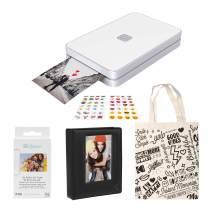 Lifeprint 2x3 Portable Photo and Video Printer (White) Photo Album Bundle