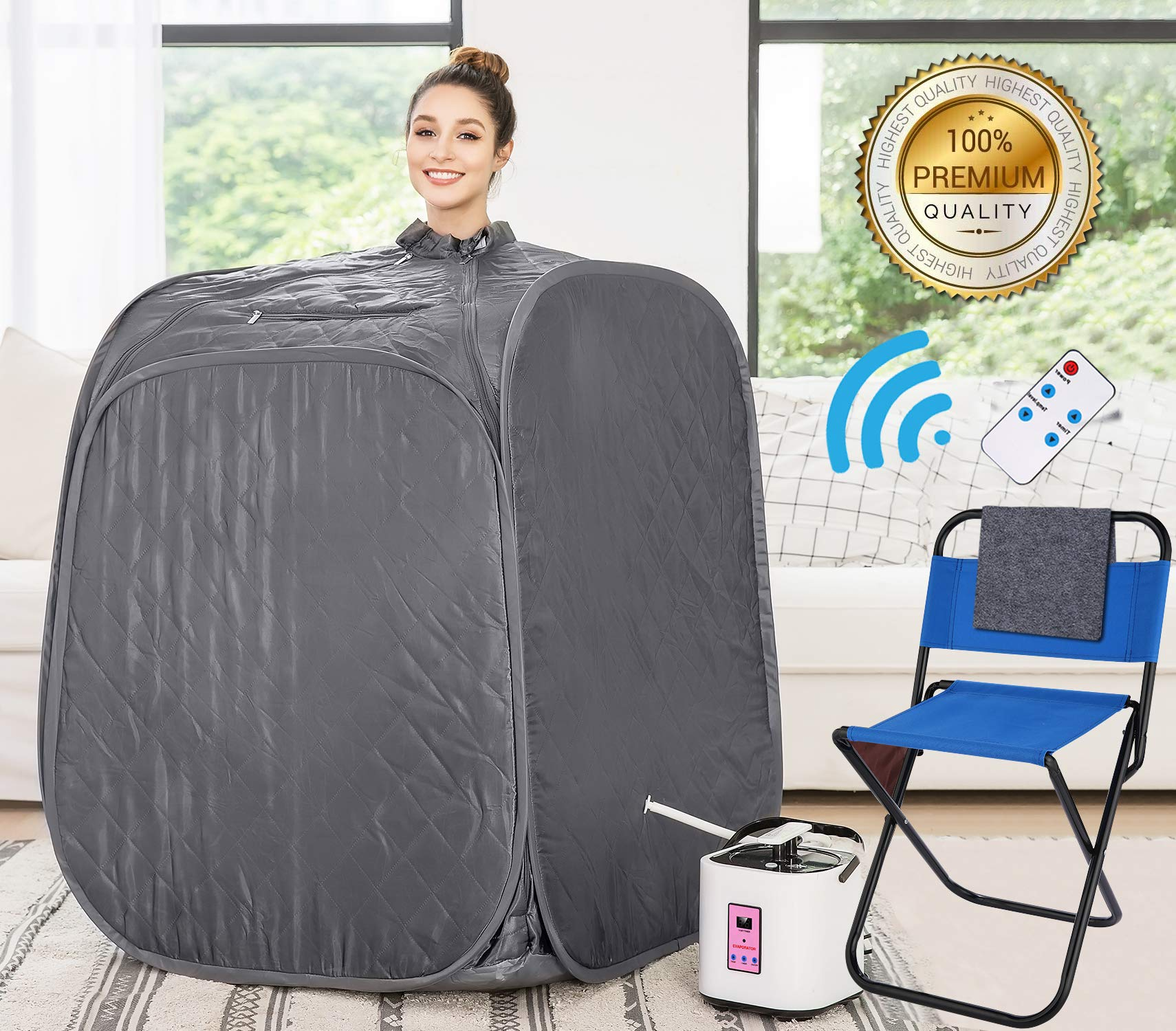 Himimi 2L Foldable Steam Sauna Portable Indoor Home Spa Weight Loss Detox with Chair Remote (Dark Silver)
