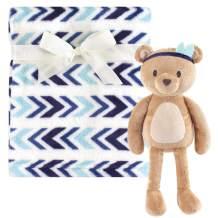 Hudson Baby Unisex Baby Plush Blanket with Toy, Aztec Bear, One Size