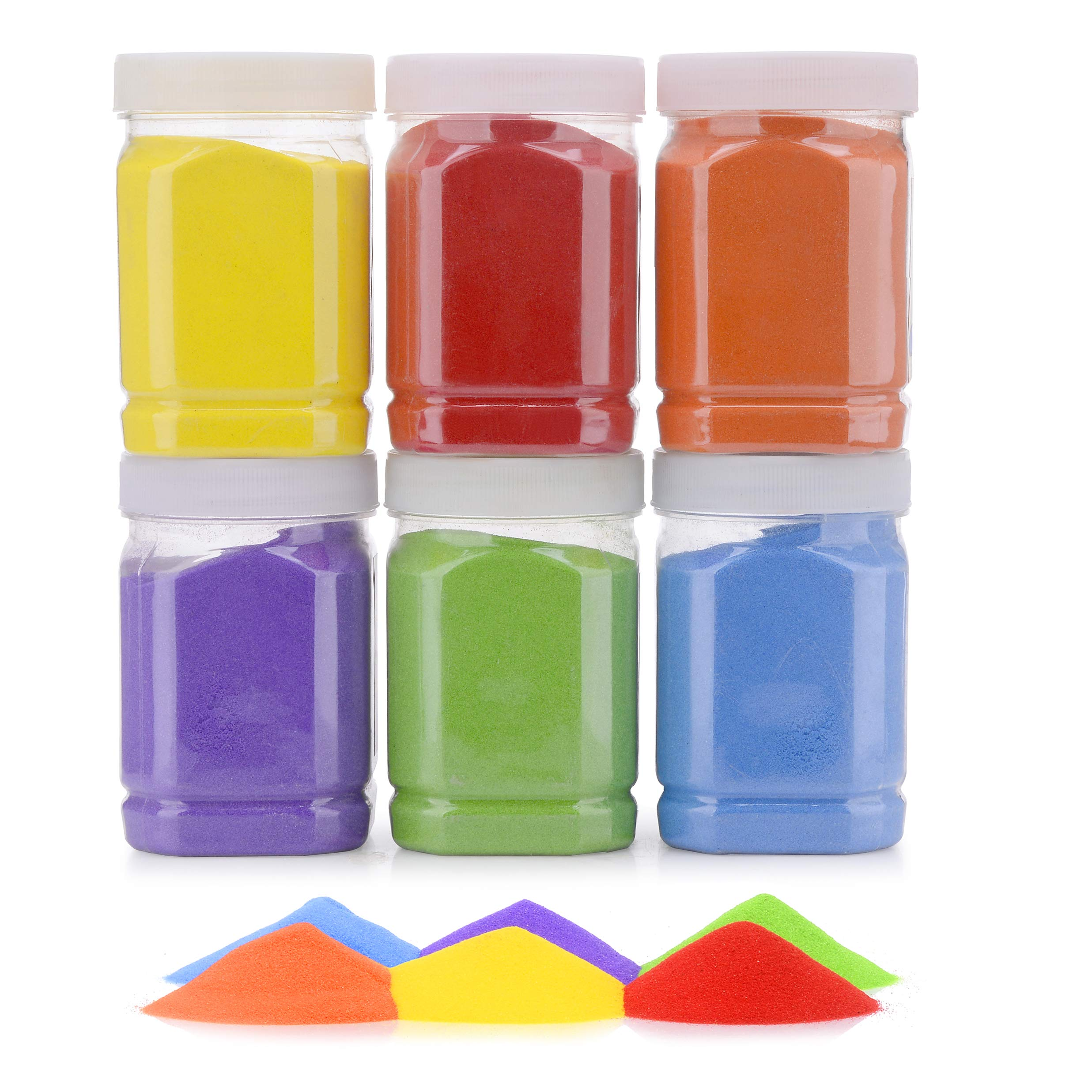 [7.2 Pound] Art Sand/Scenic Sand Non-Toxic Colored Sand for Kids' Arts & Crafts, Terrarium Sand Play DIY Drawing Sandbox Wedding Sand for Decorations and Crafty Collection Sand Bottles (6 Bottles)