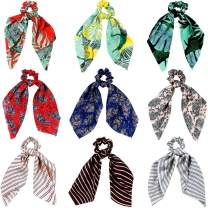 9 Pieces Hair Scrunchies Satin Silk Elastic Hair Band Scarf Ponytail Holder Scrunchy Ties Vintage Hair Accessories for Women Girls (Long Scarf Style)