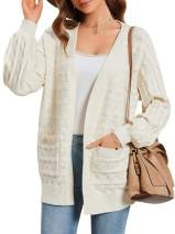 Womens Open Front Cardigans Striped Oversized Drop Shoulder Ribbed Sweaters Knit Tops Jumpers with Pockets