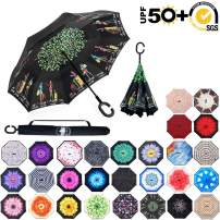 ABCCANOPY Inverted Umbrella,Double Layer Reverse Rain&Wind Teflon Repellent Umbrella for Car and Outdoor Use, Windproof UPF 50+ Big Straight Umbrella with C-Shaped Handle,colorful tourism