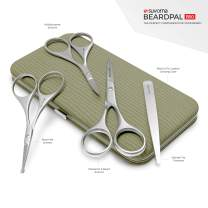 """Suvorna Premium Men's 4 Pcs Facial Hair Scissors Set/Kit. Contains 4.5"""" Mustache & Beard, Ears & Nose and Eyebrow Scissors along with Slant Tweezers. Awesome Metal & Leather Case.!"""