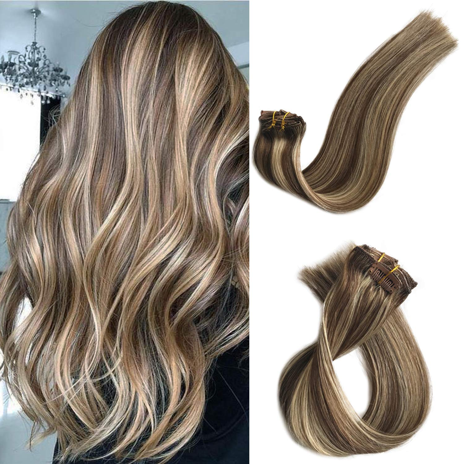 Clip in Real Human Hair Extensions Blonde Highlights Clip on Remy Hair Extensions for Black/White Women Medium Brown with 613 Bleach Blonde Highlights Double Weft Full Head 70g 7pcs 16 Clips 15 Inch