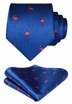 HISDERN Animal Patterns Prom Party Tie Men's Necktie & Pocket Square Set