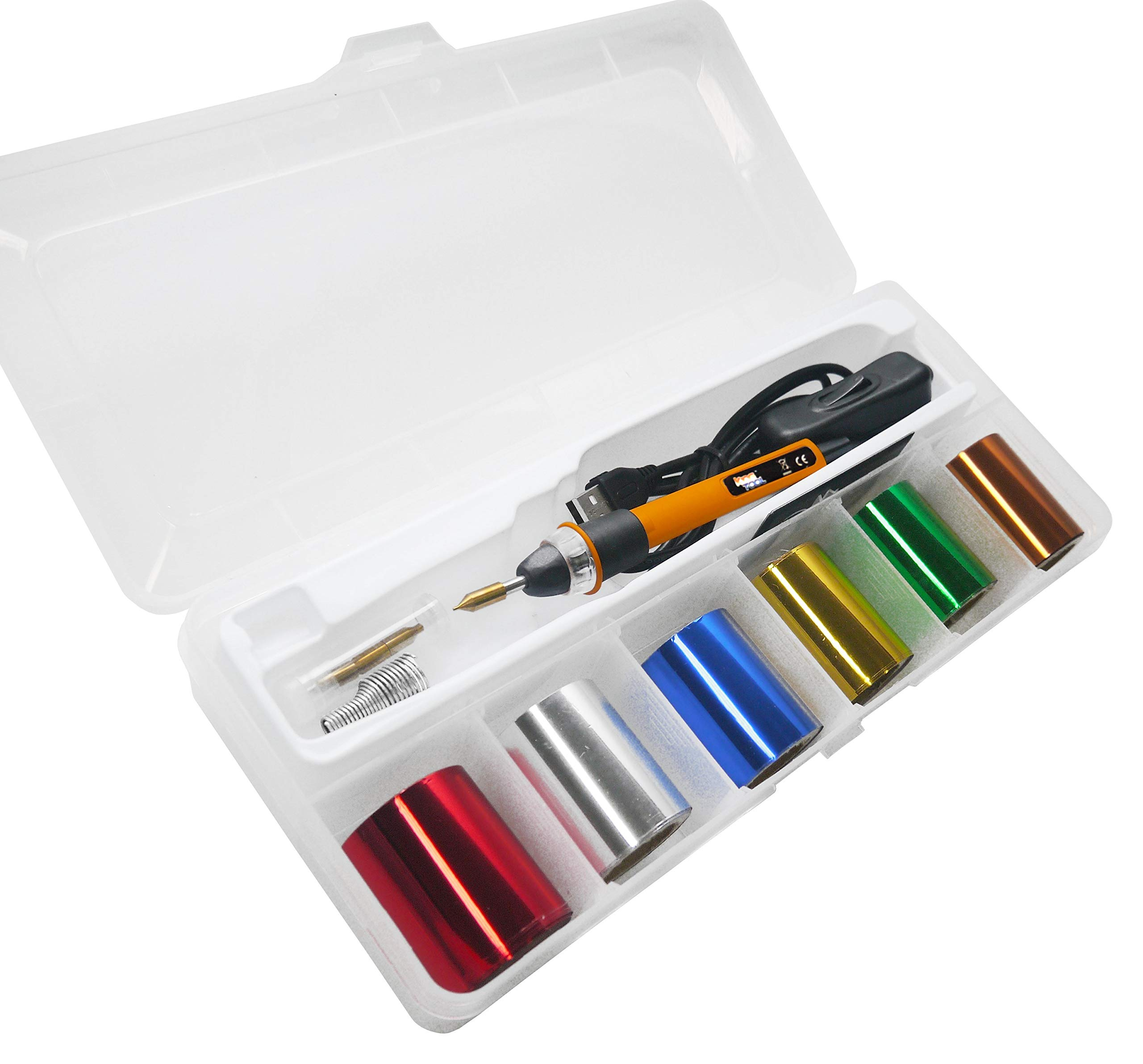 KINGTOOL Hot Foil Stamping Tool Hot Quill Pen Embossing Pen Hot Foil Pen, USB Powered (with 4 Nibs) (Yellow)