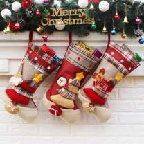 """Aiduy Christmas Stockings, 3 Pack 18"""" Large Size Xmas Stockings Decorations with 3D Santa Snowman Reindeer Fireplace Hanging Stockings for Family Holiday Season Decor and Party Accessories"""