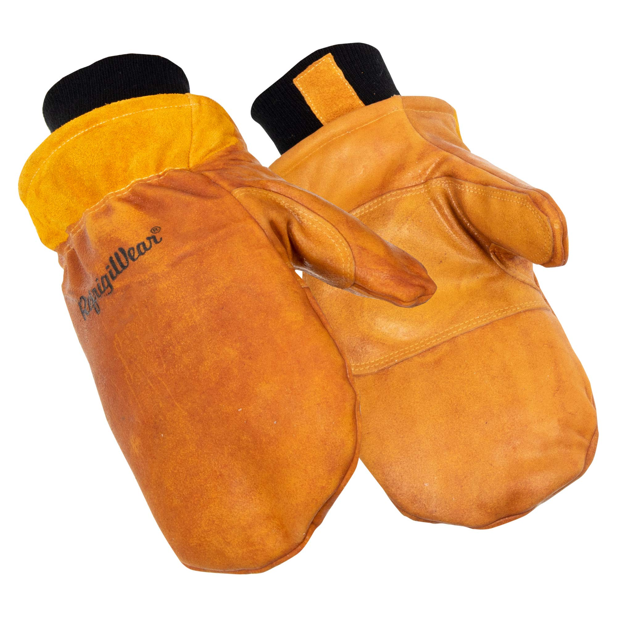 RefrigiWear Men's Water-Repellent Latex Dipped Insulated Cowhide Leather Mittens