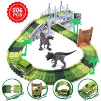 Dinosaur Toys, 206pcs Dinosaur Race Slot Cars Track Train with 2 Dinosaurs, Create a Dinosaur World Road Race Christmas Birthday Gift for Boys and Girls 3,4,5,6,7 Yeas Old and Up