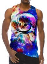 RAISEVERN 3D Astronaut Cat Print Funny Pattern Realistic Underwaist Gym Tank Tops for Men,Astronaut Cat,Large