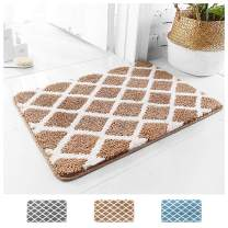 "Wovwvool Diamond Lattice Bathroom Rug Non Slip Shaggy Bath Mat Absorbent Soft Microfiber Machine Washable Thick Plush Shower Rugs 1 Piece (Brown, 20""×32"")"
