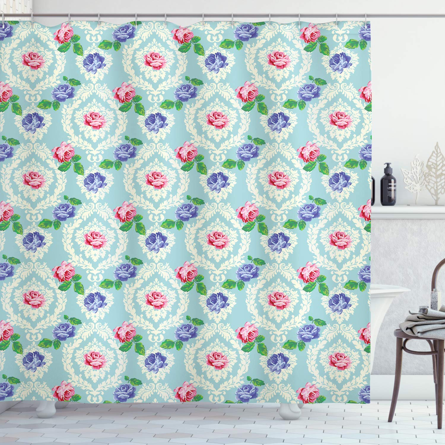 """Ambesonne Shabby Flora Shower Curtain, Baroque Inspired Colorful Roses on Victorian Pattern Fragrance Buds Art, Cloth Fabric Bathroom Decor Set with Hooks, 70"""" Long, Pale Blue"""