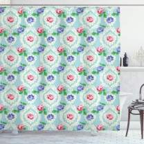 "Ambesonne Shabby Flora Shower Curtain, Baroque Inspired Colorful Roses on Victorian Pattern Fragrance Buds Art, Cloth Fabric Bathroom Decor Set with Hooks, 84"" Long Extra, Pale Blue"
