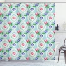 "Ambesonne Shabby Flora Shower Curtain, Baroque Inspired Colorful Roses on Victorian Pattern Fragrance Buds Art, Cloth Fabric Bathroom Decor Set with Hooks, 70"" Long, Pale Blue"