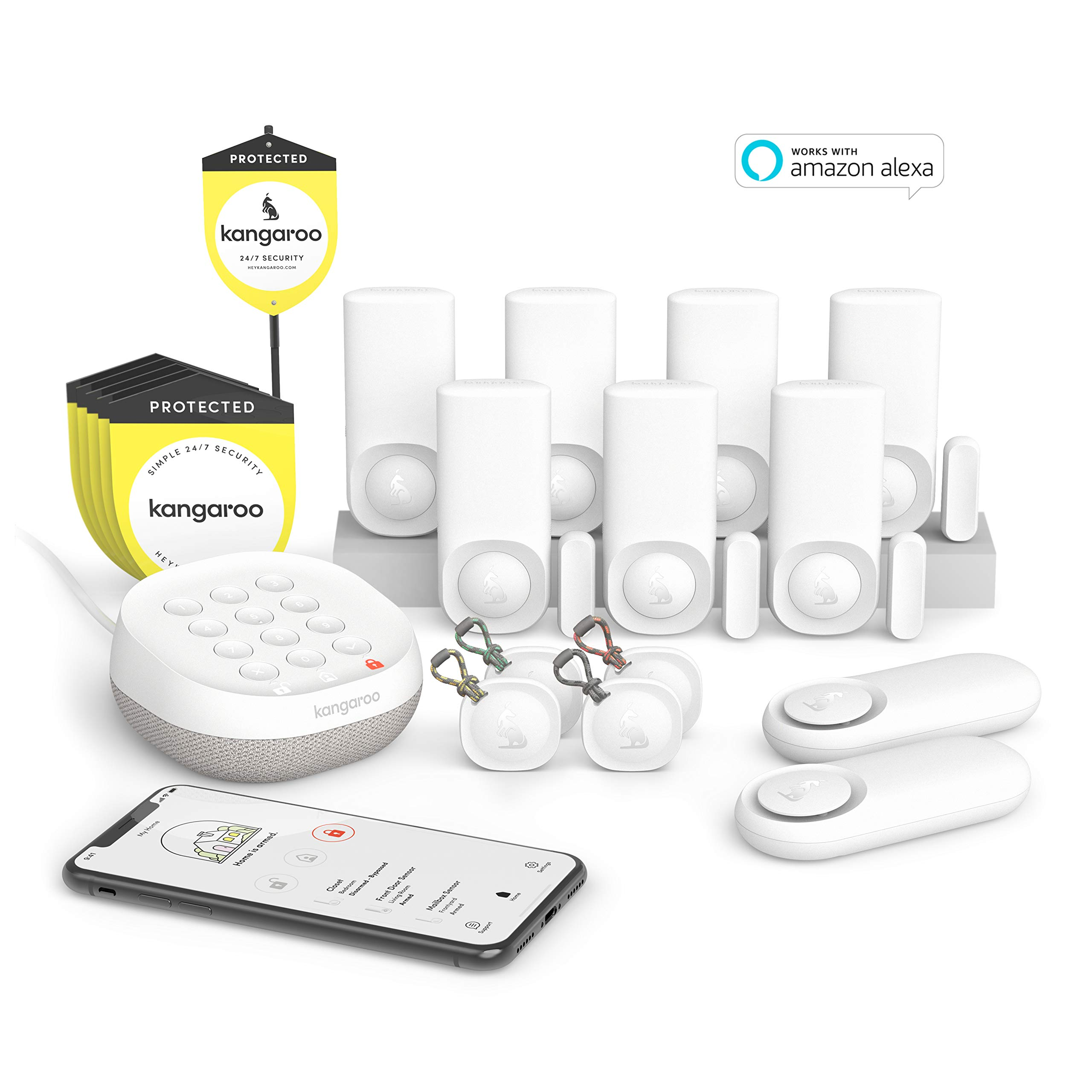Kangaroo Home Smart WiFi Wireless Security and Surveillance System | 14-Piece Kit | Alexa and Google Home Compatible | Pet-Friendly | Wi-fi & App-Based | with Alarm, Motion + Entry Sensors
