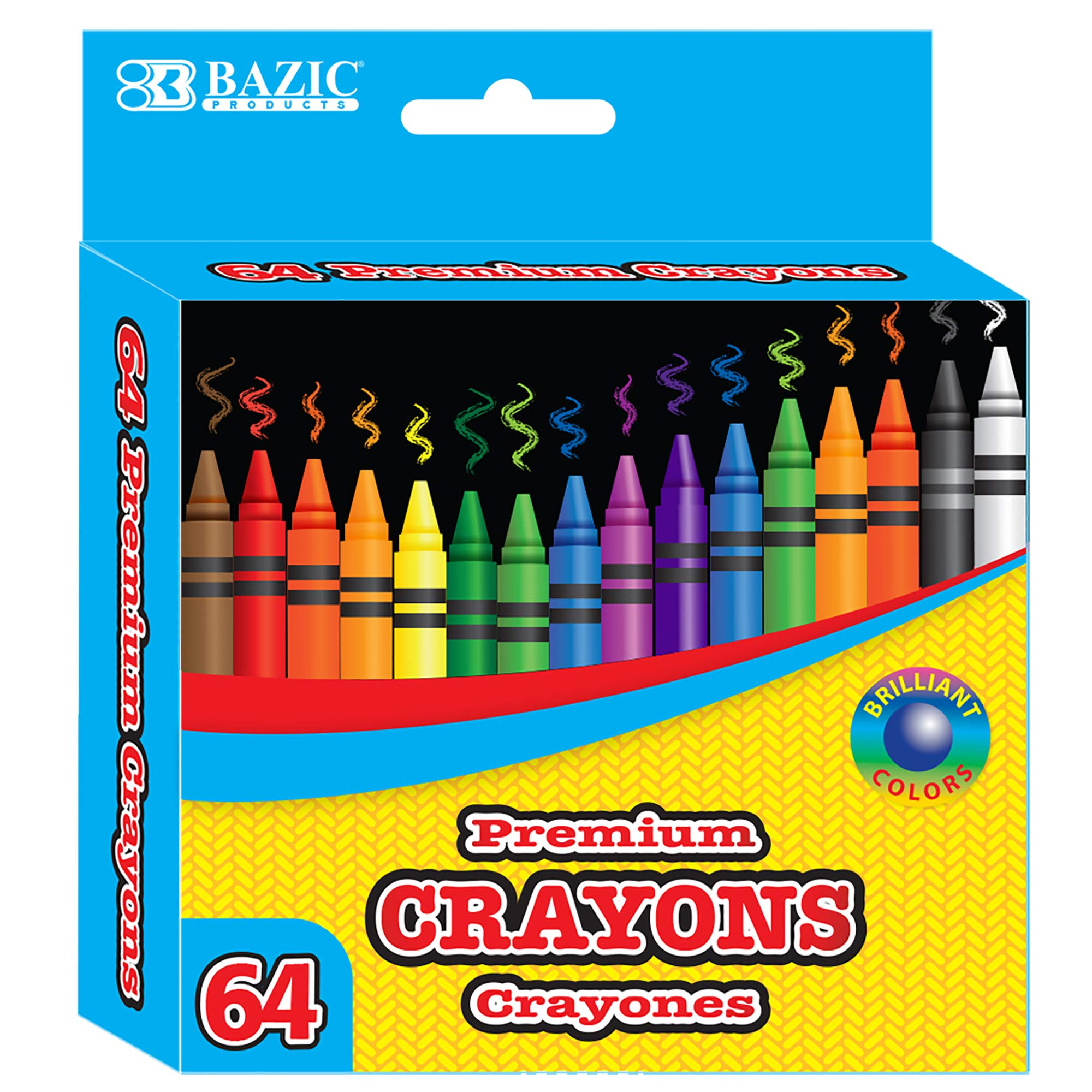 BAZIC 64 Counts Premium Color Crayons, Coloring Set, Large Pack Gift for School Classroom Art Kids