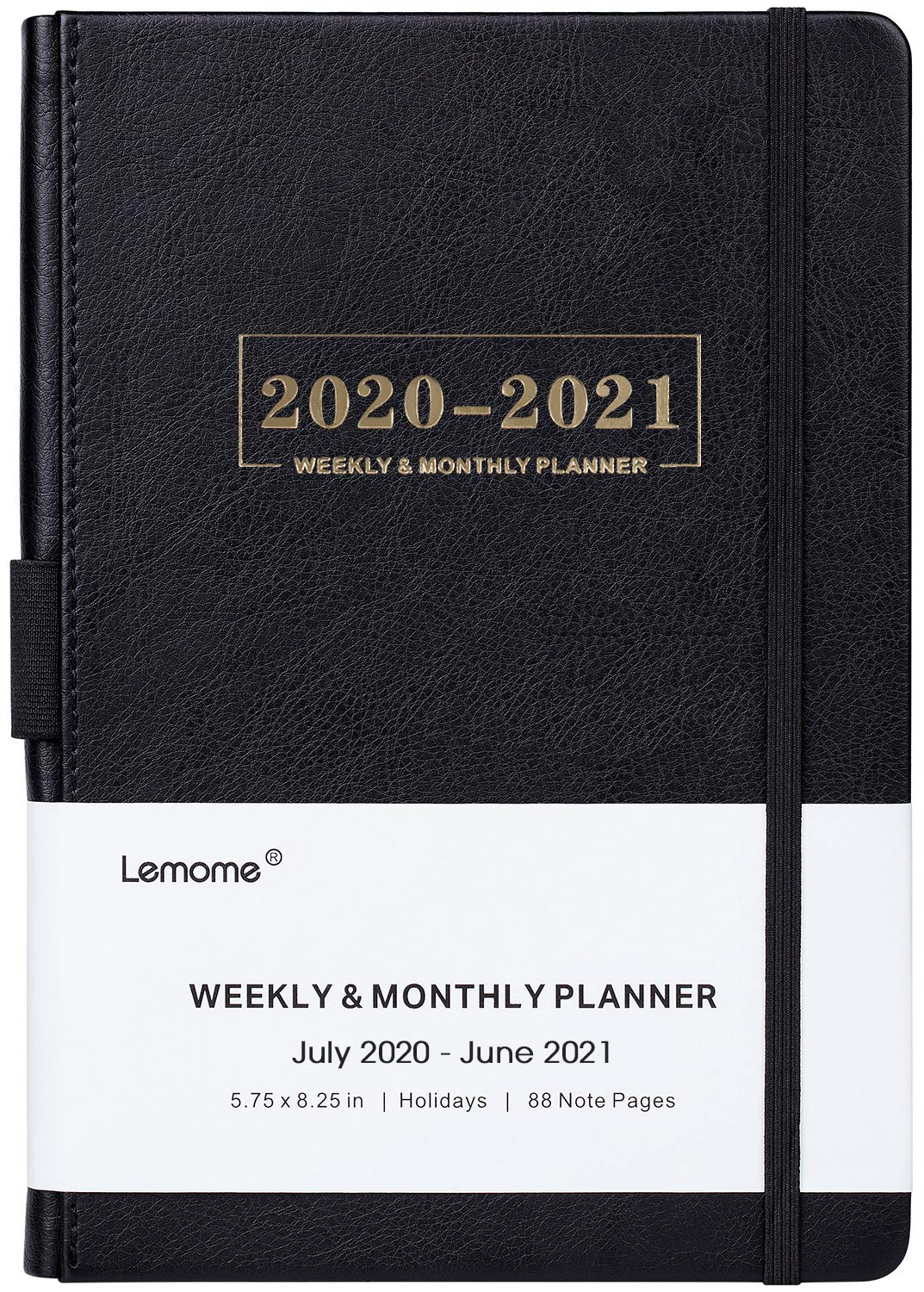"""2020-2021 Planner - Weekly, Monthly and Year Planner with Pen Loop, to Achieve Your Goals & Improve Productivity, July 2020 - June 2021, Thick Paper, Inner Pocket, 5.75"""" x 8.25"""", Black"""
