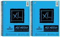 """Canson XL Series Mix Media Paper Pad, Heavyweight, Fine Texture, Heavy Sizing for Wet and Dry Media, Side Wire Bound, 98 Pound, 7 x 10 Inch, 60 Sheets - 100510926 (7"""" x 10"""" 2 Pack)"""