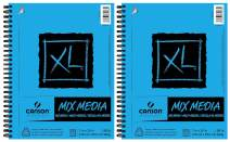 "Canson XL Series Mix Media Paper Pad, Heavyweight, Fine Texture, Heavy Sizing for Wet and Dry Media, Side Wire Bound, 98 Pound, 7 x 10 Inch, 60 Sheets - 100510926 (7"" x 10"" 2 Pack)"