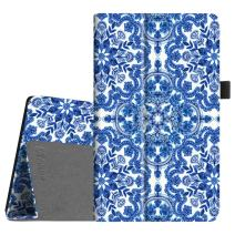 Fintie Folio Case for All-New Amazon Fire HD 8 Tablet (Compatible with 7th and 8th Generation Tablets, 2017 and 2018 Releases) - Slim Fit Premium Vegan Leather Standing Protective Cover, Cobalt Blue