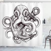 """Ambesonne Anchor Shower Curtain, Monochrome Octopus Tattoo Art Style Naval Sketch Mythical Kraken Beast Design, Cloth Fabric Bathroom Decor Set with Hooks, 75"""" Long, White Brown"""