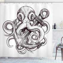 "Ambesonne Anchor Shower Curtain, Monochrome Octopus Tattoo Art Style Naval Sketch Mythical Kraken Beast Design, Cloth Fabric Bathroom Decor Set with Hooks, 75"" Long, White Brown"