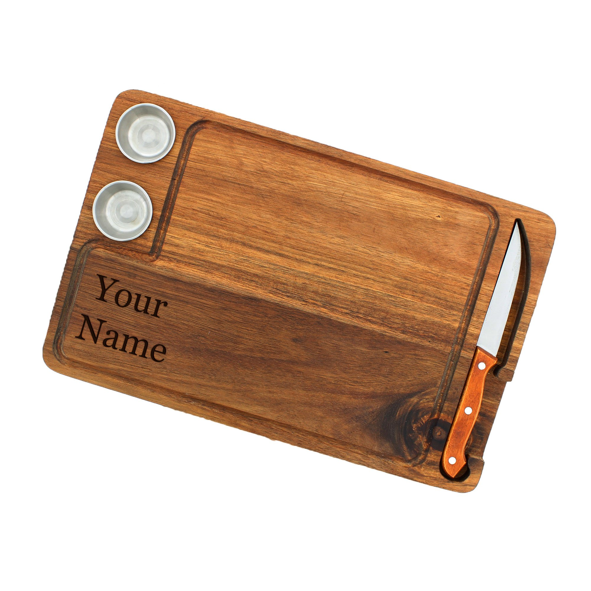 Yukon Glory Premium Wooden Steak Serving Board with Knife & Condiment Cups Superior Acadia Wood With Your Name On It