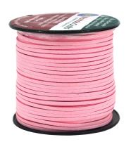 Mandala Crafts 100 Yards 2.65mm Wide Jewelry Making Flat Micro Fiber Lace Faux Suede Leather Cord (Baby Pink)