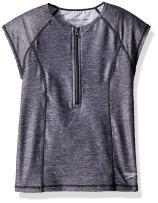 Speedo Girls Uv Swim Shirt Cap Short Sleeve Half Zip Rashguard - Manufacturer Discontinued