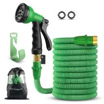 """SingPad Garden Hose,100ft Expandable Water Hose, On/Off Valve,3/4"""" Solid Brass,Durable, Kink-Free Hose end 8-Pattern Spray Nozzle and Hose Storage Bag (100ft Green)"""