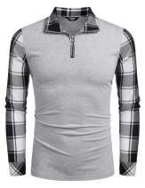 COOFANDY Men's Long Sleeve Polo Shirts Casual Slim Fit Zipper Plaid Polo T Shirts