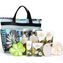 Bath Gift Basket for Women, Luxury 10Pc Coconut&Hibiscus Spa Gift Sets, Bath Gift for Women, Beauty Bath Set Includes Shower Gel, Body Lotion and Bath Salt. Best Relaxation Gift Set for Women or Men