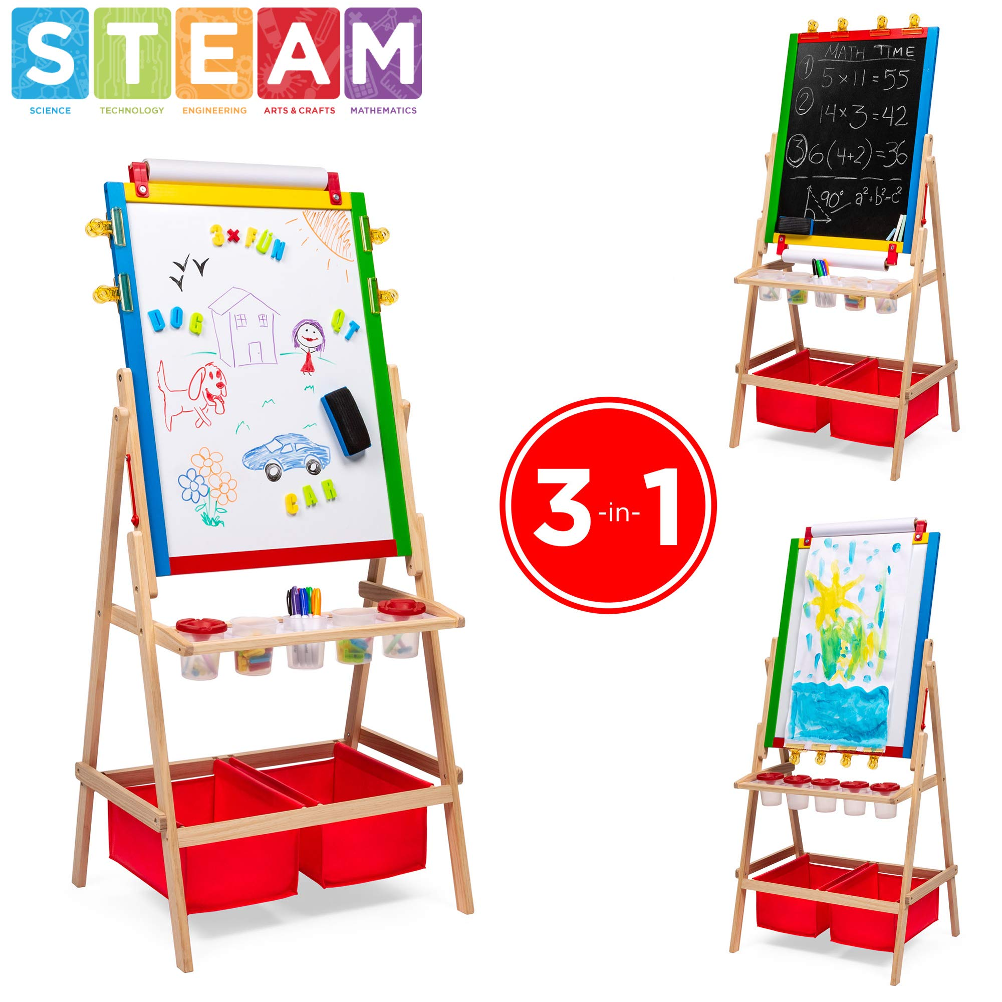 Best Choice Products 3-in-1 Kids Double-Sided Easel with Chalkboard & Whiteboard, Paper Roll, Dry Erase Markers, Magnets