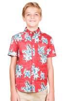 BROOKLYN ATHLETICS Boys' Big Hawaiian Aloha Shirt Vintage Casual Button Down Tee