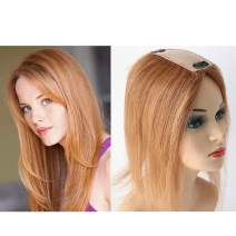 """Lumeng Topper 100% Remy Human Hair Silk Base Top Hairpieces Replacement 6# Blonde Color Clip in Topper For Women Crown Top Piece (2.36X5.12inch )12"""" 30g"""