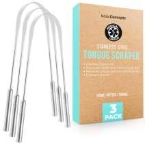 Tongue Scraper (3 Pack), Reduce Bad Breath (Medical Grade), Stainless Steel Tongue Cleaners, Metal Tounge Scrappers, Tongue Scraper Cleaner for Fresh Breath
