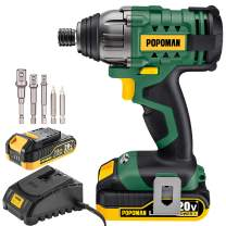 """Impact Driver, 20V POPOMAN 1600In-lbs Cordless Impact Drill, 1/4"""" All-metal Hex Chuck, 0-2900RPM Variable Speed, 2000mAh Battery, 2.0A Fast Charger, 6Pcs Accessories, Tool Bag Included"""