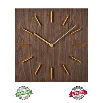 "MOTINI Wall Clock, Quality Quartz Decorative Battery Operated Wood Wall Clocks, 12"" Easy to Read Home/Office/Classroom Square Clock"