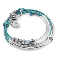 Lizzy James Mini Charmer Wrap Bracelet in Silverplate and Metallic Teal Leather with Small Freshwater Pearls